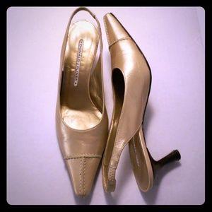 Donald J Pliner Gold Slingback Heels Sz 6